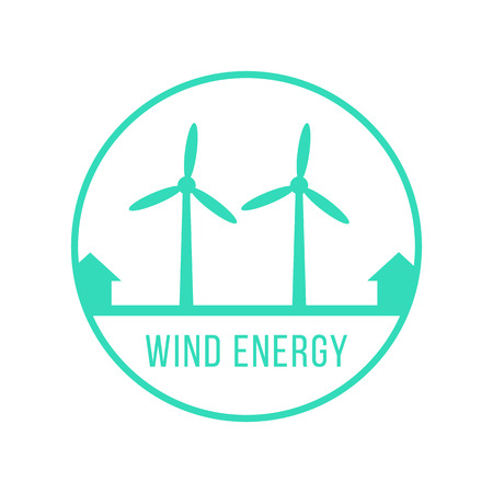 renewables: wind energy green logotype. concept of renewables, world of tomorrow, eco-friendly, economy and recycled energy. isolated on white background. flat style trendy modern logo design vector illustration