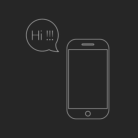 voicemail: white outline smartphone and speech bubble with hi lettering. concept of online communion, voicemail and chat application.