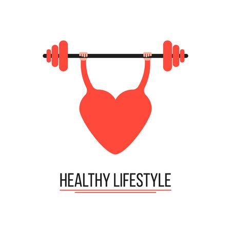 disease prevention: concepto de estilo de vida saludable con el coraz�n de entrenamiento. conceptual de la prevenci�n de enfermedades, entrenamiento y el cuidado del cuerpo. aislado en el fondo blanco. Vectores