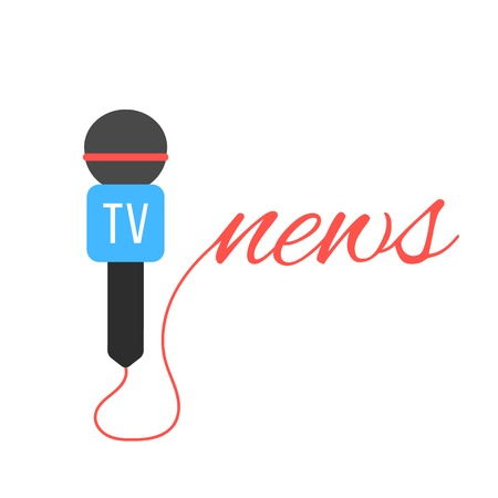 tv channel microphone with news lettering. concept of journalism, live news, interview and breaking news. isolated on white background.
