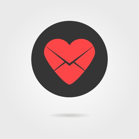billet: red heart in black circle like love letter icon with shadow. concept of broken heart, billet-doux, school love and romantic penpals. Illustration
