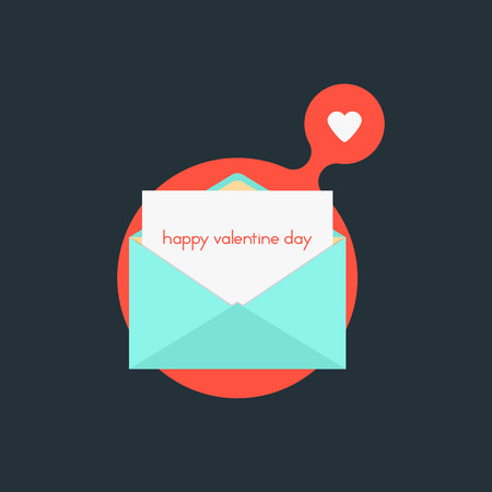 love affair: open envelope with happy valentine day on red bubble. concept of billet-doux, marriage, love affair, school love and romantic penpals Illustration