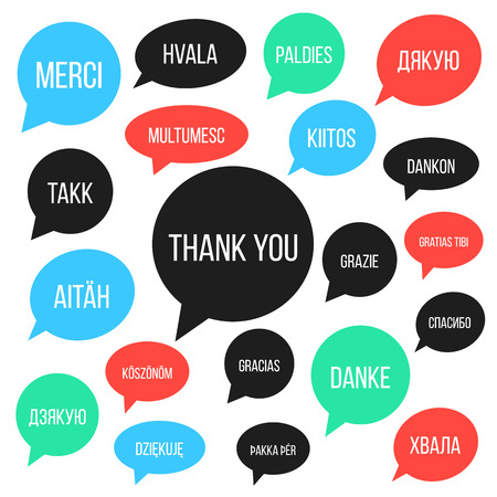 thankfulness: white thank you lettering in different languages in colored speech bubbles. concept of gratitude, thankfulness and polyglot. isolated on white background. trendy modern design vector illustration