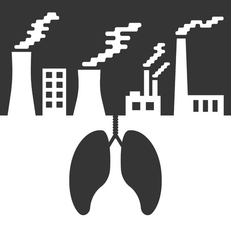 environmental damage: environmental issues with lungs and air pollution. concept of ecocatastrophe, air contamination, pulmonary disease, ecological catastrophe and bionomics. trendy modern design vector illustration