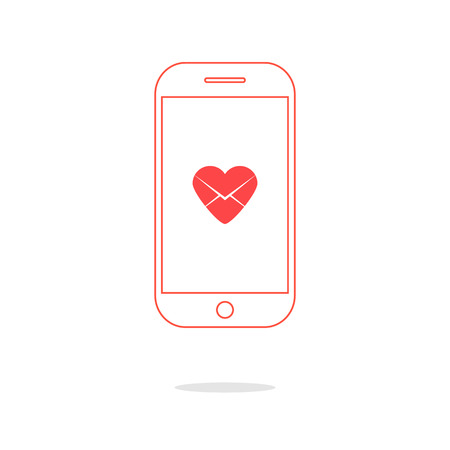 heart letter icon in red outline smartphone. concept of valentine day, billet-doux, electronic mail and romantic penpals. isolated on white background. trendy modern logo design vector illustration