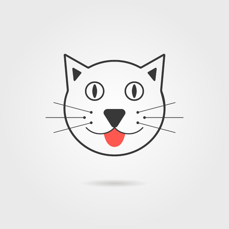 catlike: simple cat icon with shadow. concept of vet clinic, cat food packaging, household pet, catlike and feline. isolated on grey stylish background. flat style trendy modern logo design vector illustration