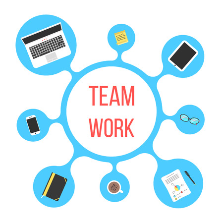 concept of team work with blue bubble. conceptual of coworking center, collaboration, joint work and office life. isolated on white background. flat style trendy modern logo design vector illustration Vettoriali