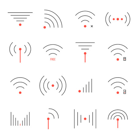 simple set of thin red and black wifi icons. concept of free internet point, wi-fi connection via radio waves, wifi area. isolated on white background. trendy modern logo design vector illustration