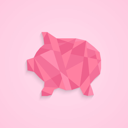nest egg: low poly piggy bank. concept of savings, deposit policy, nest egg, money for a rainy day and thrift. isolated on pink stylish background. polygonal style trendy modern logo design vector illustration