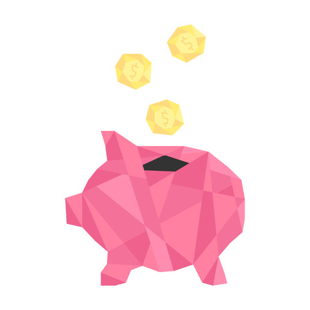 pink polygonal piggy bank with golden coin. concept of savings, deposit policy, nest egg, money for a rainy day and thrift. isolated on white background. trendy modern logo design vector illustration