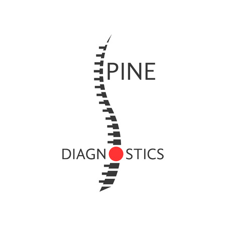 spine diagnostics logotype with pain sign. concept diseases of back, diagnostic center, preventive therapy. isolated on white background. flat style trendy modern logo design vector illustration Vettoriali