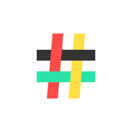 microblogging: colored hashtag icon on white background. concept of number sign, social media, mark message, social networks, short messages, microblogging. flat style trendy modern logo design vector illustration
