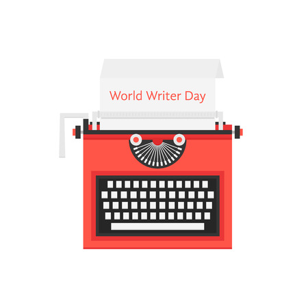 scriptwriter: world writer day with red typewriter. concept of sign freelancing, storytelling, literature, success, creative. isolated on white background. flat style trendy modern logo design vector illustration