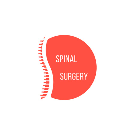 orthopedic: red spinal surgery icon. concept of scoliosis, analysis ridge, cure ache,  preventive therapy. isolated on white background. flat style modern silhouette logotype design vector illustration