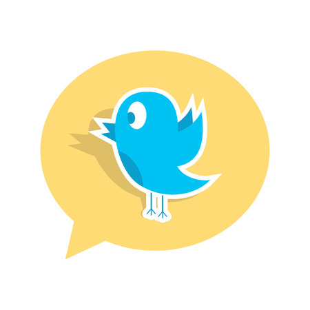 microblogging: blue bird sticker on yellow speech bubble. concept of social media, microblogging and ornithology. isolated on white background. flat style trendy modern logo design vector illustration