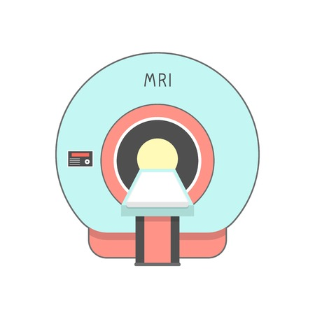 blue and red medical imaging system. concept of neurology, brain xray, magnetic resonance imaging, neuroscience, neurosurgery. isolated on white background flat style modern design vector illustration Illustration