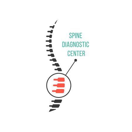 Spine Center de diagnostic avec un grossissement de la douleur de l'âtre. concept de la scoliose, crête, un traitement préventif. isolé sur fond blanc. conception de logotype moderne style tendance plat illustration vectorielle
