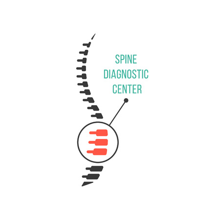 joint: spine diagnostic center with magnification of hearth pain. concept of scoliosis, ridge, preventive therapy. isolated on white background. flat style trendy modern logotype design vector illustration Illustration