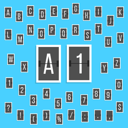 indicator board: black letters and numbers alphabet scoreboard stickers. concept of board at the airport and sports scores. isolated on blue background. flat style trendy modern design vector illustration