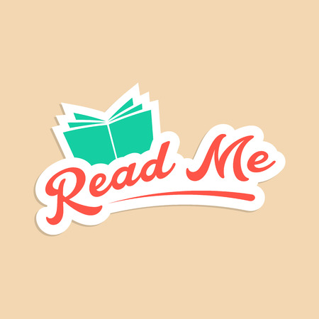 book store: read me with green book sticker. concept of online book store, motivational slogan, branding, schooling. isolated on stylish background. flat style trendy modern logotype design vector illustration