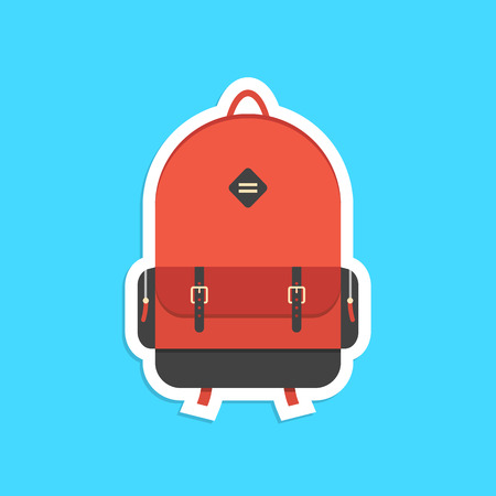 walking trail: red backpack sticker with shadow. concept of trip around the world, schooling, hipster, traveling and trip. isolated on blue background. flat style trendy modern logo design vector illustration