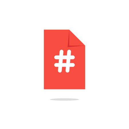 microblogging: white hashtag icon on orange sheet with simple shadow. concept of social media, number sign and microblogging. isolated on white background. flat style trendy modern logo design vector illustration