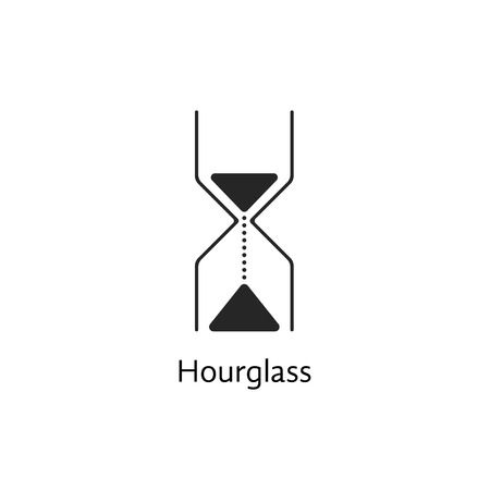 punctuality: black abstract hourglass icon. concept of passing of time, punctuality, undergoing, stopwatch, lifecycle, brand watches. isolated on white background. trendy modern  design  illustration Illustration