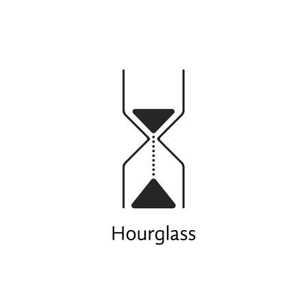 punctuality: icono negro del reloj de arena abstracto. concepto de paso de los relojes de tiempo, de puntualidad, de someterse, cron�metro, ciclo de vida, de la marca. aislado en el fondo blanco. moda ilustraci�n moderno dise�o Vectores