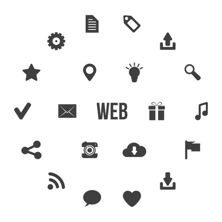 icons site search: black and white web icons in circles. concept of website icons, site elements, marketing, shopping, search, seo. isolated on white background. flat style trendy modern design  illustration