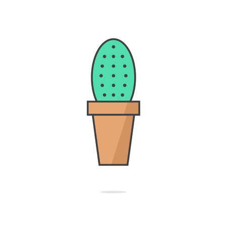 phytology: simple cactus icon with shadow. concept of phytology, ecologic, succulent plant, potted plants, flowershop. isolated on white background. flat style trendy modern design illustration Illustration