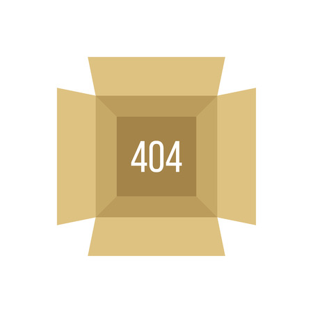 error message: opened box with 404 error. concept of page not found, under construction, error message,  Illustration