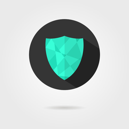 low prizes: green shield icon on black circle with shadow. concept of defense, safety icon, crest shield, antivirus annex. isolated on grey background. flat style trendy modern  design  illustration
