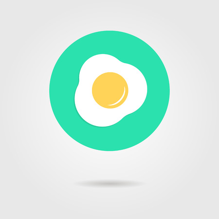 green scrambled eggs icon with shadow. concept of healthy start to your day, protein ration, culinary app. isolated on grey background. flat style trendy modern  design  illustration Illustration