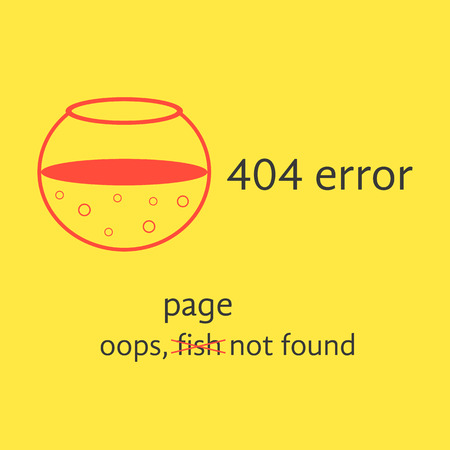 error message: 404 error with red empty aquarium. concept of page not found, under construction,  error message, server response. isolated on yellow background. flat style modern design illustration