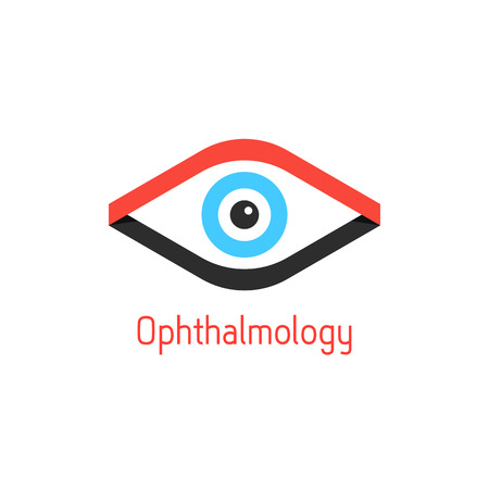 ophthalmic: ophthalmology  with eye from ribbons. concept of surgery, optometry, ophthalmic, optician, oculist. isolated on white background. flat style trendy modern branding design  illustration Illustration