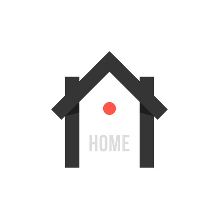 advanced technology: smart house black icon with point. concept of eco house, automation, home technology, advanced, freelance. isolated on white background. flat style trendy modern branding design  illustration