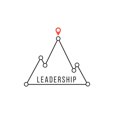 competitive advantage: leadership icon like mountain peak. concept of competitive advantage, strategy, lead, attainment, solution. isolated on white background. flat style trendy modern branding design illustration