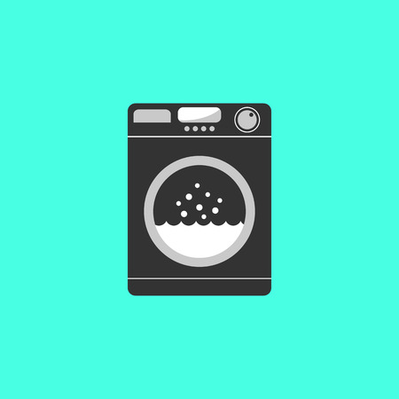 consumer electronics: black washing machine isolated on green background. concept of homework, domestic work, consumer electronics, laundry room, washhouse. flat style trendy modern  design illustration Illustration