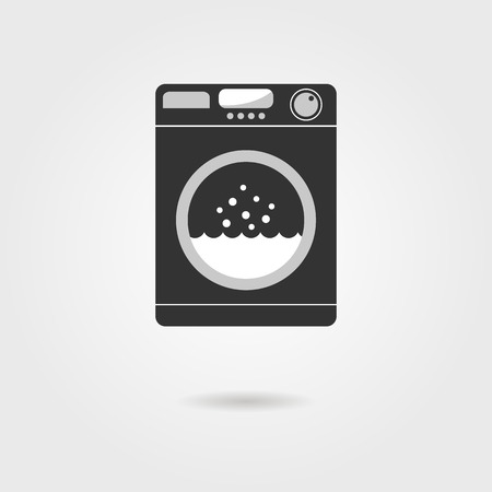 black washing machine with shadow. concept of homework, domestic work, consumer electronics, laundry room, washhouse. isolated on grey background. flat style modern design illustration Illustration