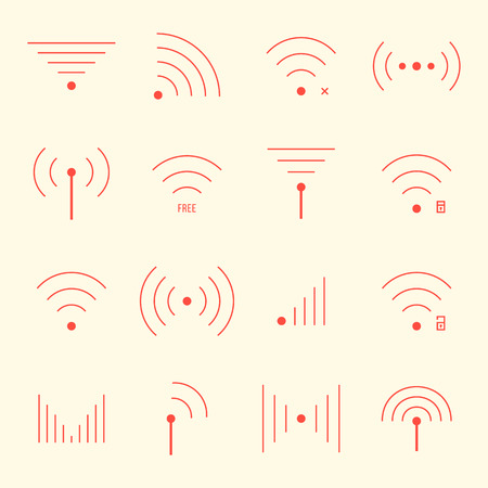 wifi access: thin red wifi icons on yellow background. concept of free internet point, free access, wifi zone, wifi connection via radio waves, wifi area. flat style modern design  Vettoriali