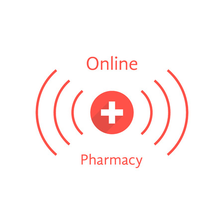 pharmacy store: red online pharmacy logotype with wave. concept of pharmacist, pharmaceutical, pharmacy store, web shopping drugstore. isolated on white background. flat style modern branding illustration