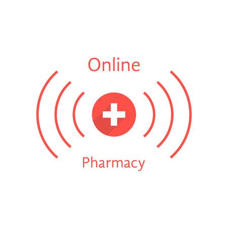 red online pharmacy logotype with wave. concept of pharmacist, pharmaceutical, pharmacy store, web shopping drugstore. isolated on white background. flat style modern branding illustration