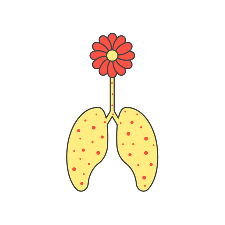physiology: colored flower and sick lungs. concept of allergic reaction, bronchitis, inhalation, bronchospasm, pulmonary. isolated on white background. flat style trendy modern  design  illustration Illustration