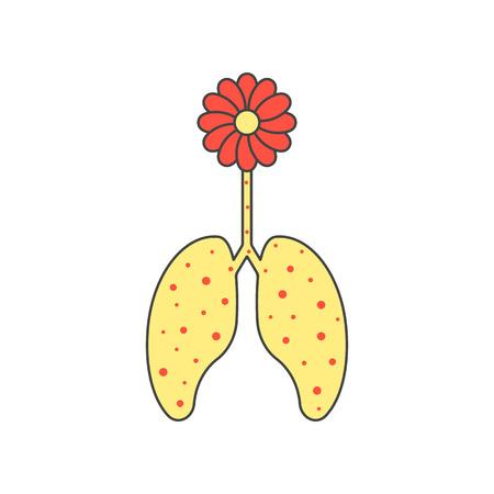 inhalacion: flor de color y los pulmones enfermos. concepto de reacci�n al�rgica, bronquitis, inhalaci�n, broncoespasmo, pulmonar. aislado en el fondo blanco. estilo plano moda ilustraci�n moderno dise�o
