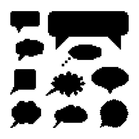 8 bit: set of black speech bubbles in pixel art. concept of web communion, 8 bit game, onomatopoeia, video-game, marks. isolated on white background. pixelart style trendy modern design  illustration