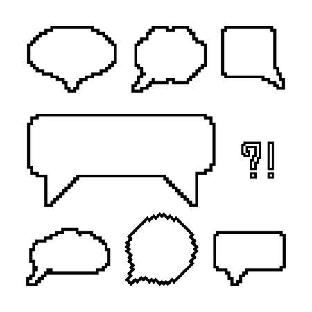 8 bit: set of white pixel outline speech bubbles. concept of web communion, 8 bit game, onomatopoeia, video-game, marks. isolated on white background. pixelart style trendy modern design vector illustration