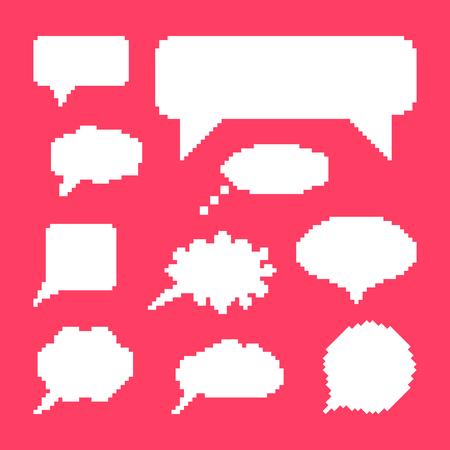 8 bit: blanca del discurso burbujas conjunto sobre fondo rosa. concepto de comuni�n web, juego de 8 bits, onomatopeyas, los videojuegos, las marcas y el elemento cita. pixelart estilo moderno dise�o de moda ilustraci�n vectorial Vectores