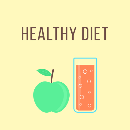 antioxidant: healthy diet with apple and glass of orange juice. concept of dietary fitness meals, cooking, antioxidant, smoothie, invalid food, drinking dessert. Illustration