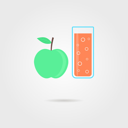 antioxidant: apple and glass of orange juice with shadow. concept of dietary fitness meals, cooking, antioxidant, smoothie, invalid food, drinking dessert. flat style trendy modern logo design vector illustration