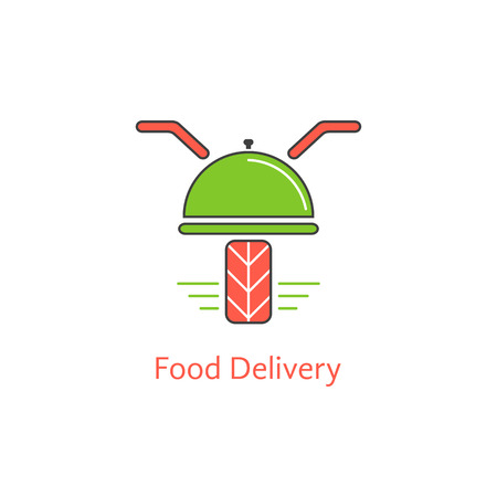 motor scooter: food delivery with motor scooter and dish. concept of online cafe, payment discounts, courier, dining, meal serving. isolated on white background. flat style modern branding design vector illustration Illustration